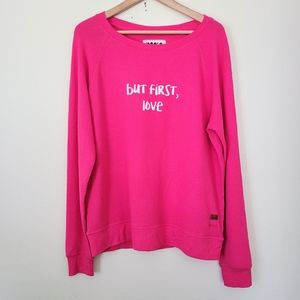 Peace Love World pink pullover sweater M/L
